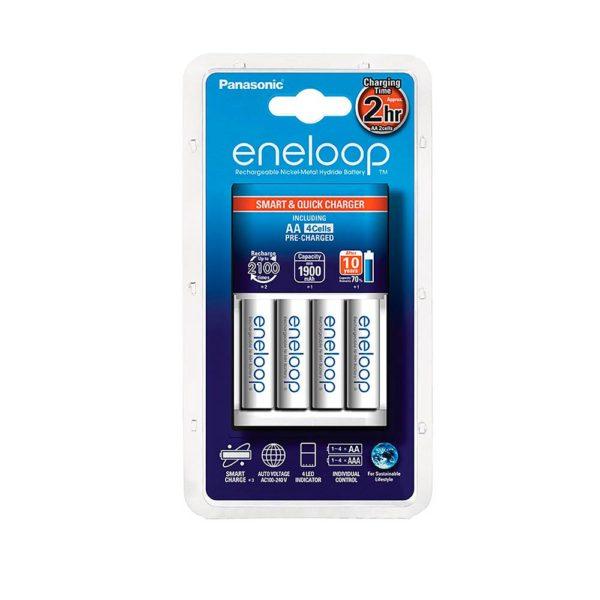 906679 pikalaturi eneloop 00 Panasonic Eneloop pikalaturi 1,5h + 4 kpl AA paristoja