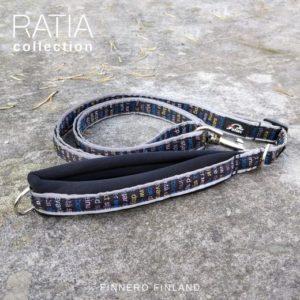 RATIA sport adjustable reflector leash black grafico blue Finnero Korpistore